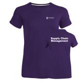 Ladies Russell Purple Essential T Shirt-Strategic Sourcing