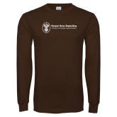 Brown Long Sleeve T Shirt-Newport News Shipbuilding