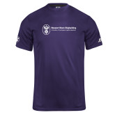 Russell Core Performance Purple Tee-Newport News Shipbuilding