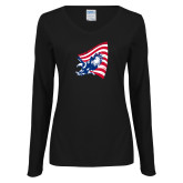 Ladies Black Long Sleeve V Neck Tee-NNS Flag