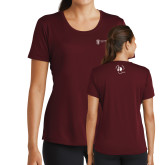 Ladies Performance Maroon Tee-NNS IT