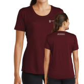 Ladies Performance Maroon Tee-Manufacturing and Material Distribution