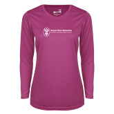 Ladies Syntrel Performance Raspberry Longsleeve Shirt-Newport News Shipbuilding