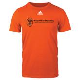 Adidas Orange Logo T Shirt-Newport News Shipbuilding