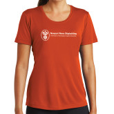 Ladies Syntrel Performance Orange Tee-Newport News Shipbuilding