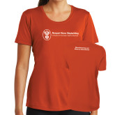 Ladies Syntrel Performance Orange Tee-Manufacturing and Material Distribution