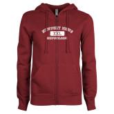 ENZA Ladies Maroon Fleece Full Zip Hoodie-NNS College Design