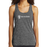 Ladies Grey/Black Heather Performance Tank-Newport News Shipbuilding