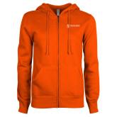 ENZA Ladies Orange Fleece Full Zip Hoodie-Newport News Shipbuilding