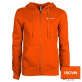 ENZA Ladies Orange Fleece Full Zip Hoodie-ISCVN