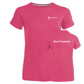 Ladies Russell Pink Essential T Shirt-Navy Programs