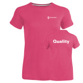 Ladies Russell Pink Essential T Shirt-Quality