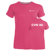 Ladies Russell Pink Essential T Shirt-CVN 80 and 81