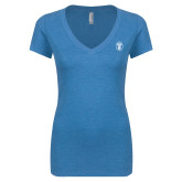 Next Level Ladies Vintage Turquoise Tri Blend V Neck Tee-Icon