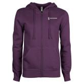 ENZA Ladies Purple Fleece Full Zip Hoodie-Newport News Shipbuilding