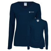 Ladies Navy Long Sleeve V Neck Tee-HR and A