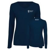 Ladies Navy Long Sleeve V Neck Tee-Strategic Sourcing