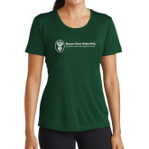 Ladies Performance Dark Green Tee-Newport News Shipbuilding