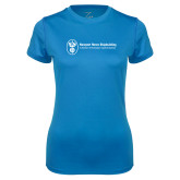 Ladies Syntrel Performance Light Blue Tee-Newport News Shipbuilding