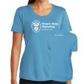 Ladies Syntrel Performance Light Blue Tee-Navy Programs