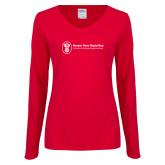 Ladies Red Long Sleeve V Neck Tee-Newport News Shipbuilding