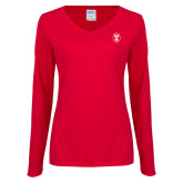 Ladies Red Long Sleeve V Neck Tee-Icon
