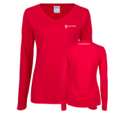 Ladies Red Long Sleeve V Neck Tee-Comms