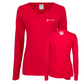 Ladies Red Long Sleeve V Neck Tee-HR and A