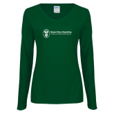 Ladies Dark Green Long Sleeve V Neck Tee-Newport News Shipbuilding
