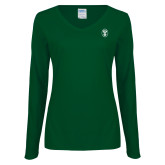 Ladies Dark Green Long Sleeve V Neck Tee-Icon