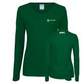 Ladies Dark Green Long Sleeve V Neck Tee-IPPC