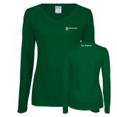 Ladies Dark Green Long Sleeve V Neck Tee-Navy Programs