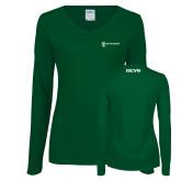 Ladies Dark Green Long Sleeve V Neck Tee-ISCVN