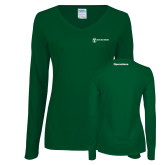 Ladies Dark Green Long Sleeve V Neck Tee-Operations