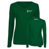 Ladies Dark Green Long Sleeve V Neck Tee-Strategic Sourcing