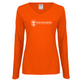 Ladies Orange Long Sleeve V Neck Tee-Newport News Shipbuilding