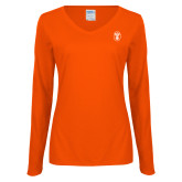 Ladies Orange Long Sleeve V Neck Tee-Icon