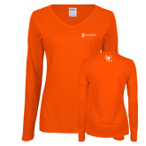 Ladies Orange Long Sleeve V Neck Tee-NNS IT