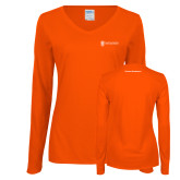 Ladies Orange Long Sleeve V Neck Tee-Business Management