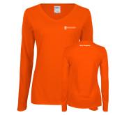 Ladies Orange Long Sleeve V Neck Tee-Navy Programs