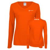 Ladies Orange Long Sleeve V Neck Tee-CVN 80 and 81