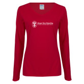 Ladies Cardinal Long Sleeve V Neck Tee-Newport News Shipbuilding