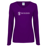 Ladies Purple Long Sleeve V Neck Tee-Newport News Shipbuilding
