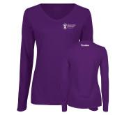 Ladies Purple Long Sleeve V Neck Tee-Trades