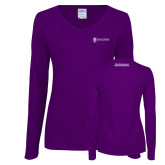 Ladies Purple Long Sleeve V Neck Tee-Manufacturing and Material Distribution