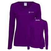 Ladies Purple Long Sleeve V Neck Tee-Quality