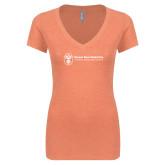 Next Level Ladies Vintage Orange Tri Blend V Neck Tee-Newport News Shipbuilding