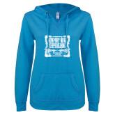 ENZA Ladies Pacific Blue V Notch Raw Edge Fleece Hoodie-NNS Vintage