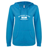 ENZA Ladies Pacific Blue V Notch Raw Edge Fleece Hoodie-NNS College Design