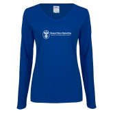 Ladies Royal Long Sleeve V Neck Tee-Newport News Shipbuilding